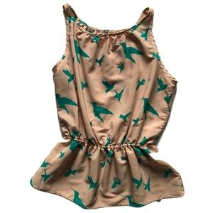 Paper Crane Hummingbird print blouse